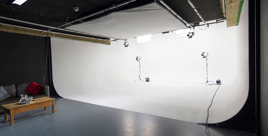 Empty film and Tv studio set in London